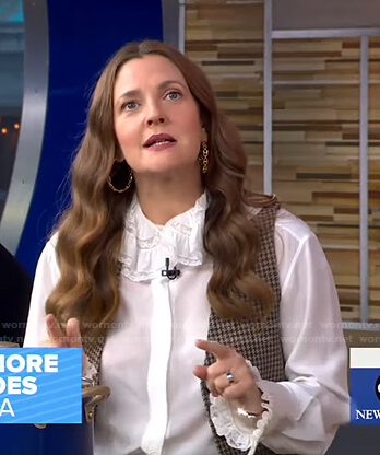 Drew Barrymore's white ruffle blouse and houndstooth vest on Good Morning America