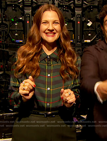 Drew's green plaid blouse on The Drew Barrymore Show