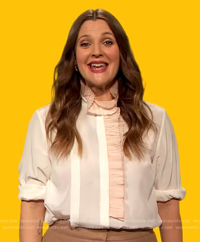 Drew's white ruffle trim blouse on The Drew Barrymore Show