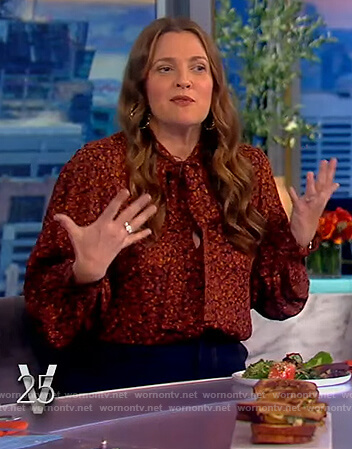 Drew's floral print tie neck blouse on The View