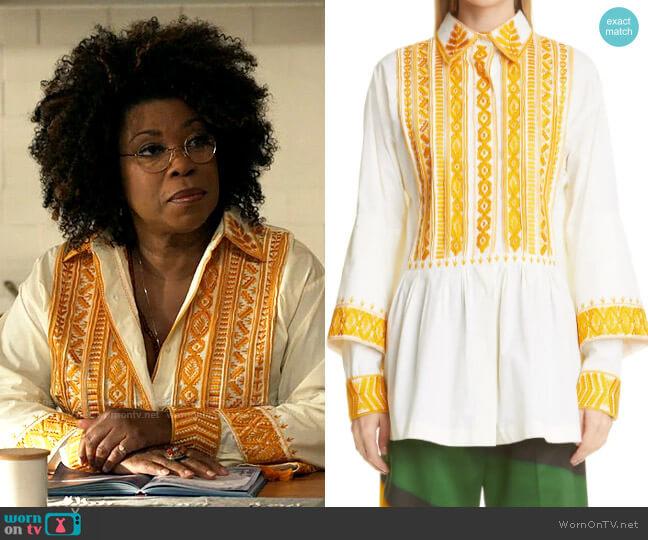 Dries van Noten Castaly Embroidered Tassel Peplum Shirt worn by Viola Marsette (Lorraine Toussaint) on The Equalizer