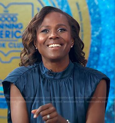 Deborah's blue ruched satin dress on Good Morning America