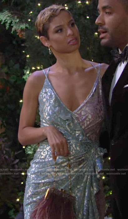 Elena's pink and blue dress at Victoria & Ashland's wedding on The Young and the Restless