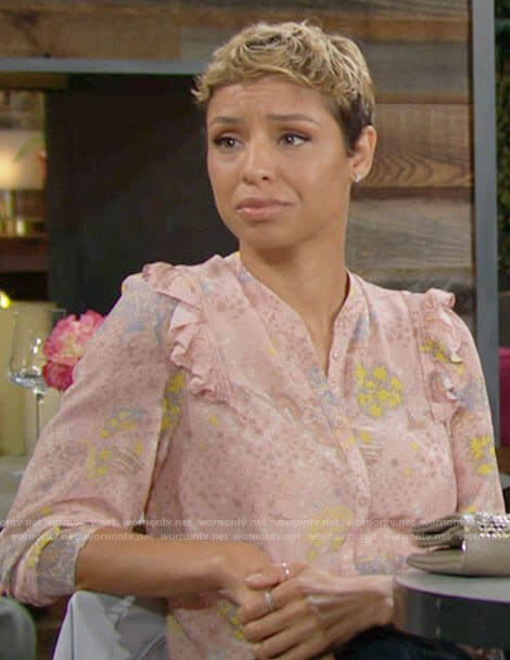 Elena's blush pink floral blouse on The Young and the Restless