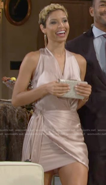 Elena's satin wrap mini dress on The Young and the Restless