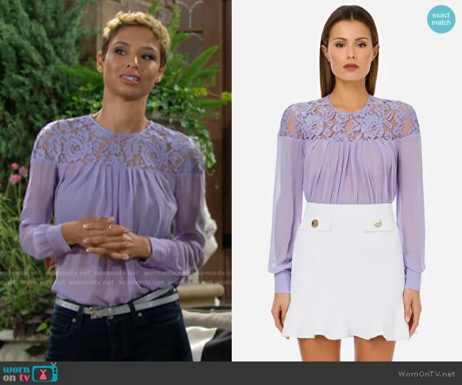 Elisabetta Franchi Silk Georgette Blouse with Lace in Lavender worn by Elena Dawson (Brytni Sarpy) on The Young & the Restless