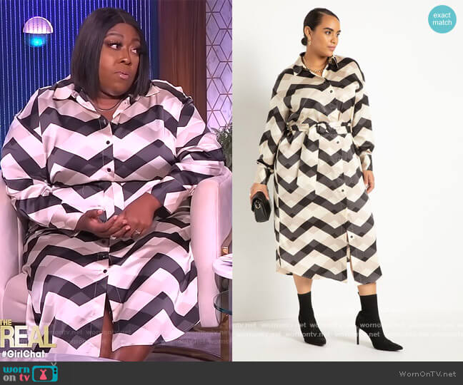 Button Down Maxi Shirtdress by Eloquii worn by Loni Love  on The Real
