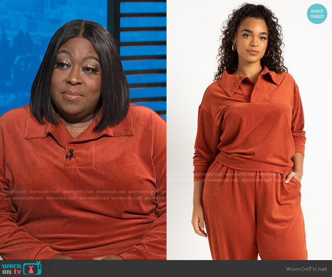 Stretch Corduroy Collared Pullover by Eloquii worn by Loni Love  on E! News