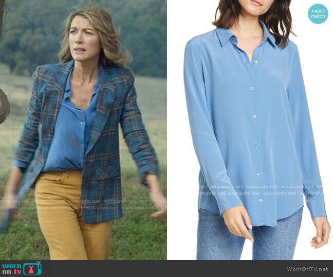 Equipment Essential Silk Button-Up Shirt in Riverside worn by Eve Harris (Natalie Zea) on La Brea