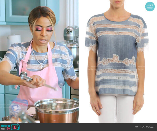 Lace-Inset Top by Ermanno Scervino worn by Mary Cosby  on The Real Housewives of Salt Lake City