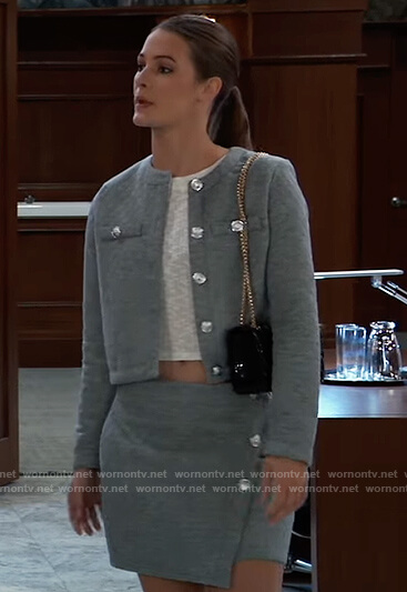 Esme's gray quilted blazer and mini skirt on General Hospital