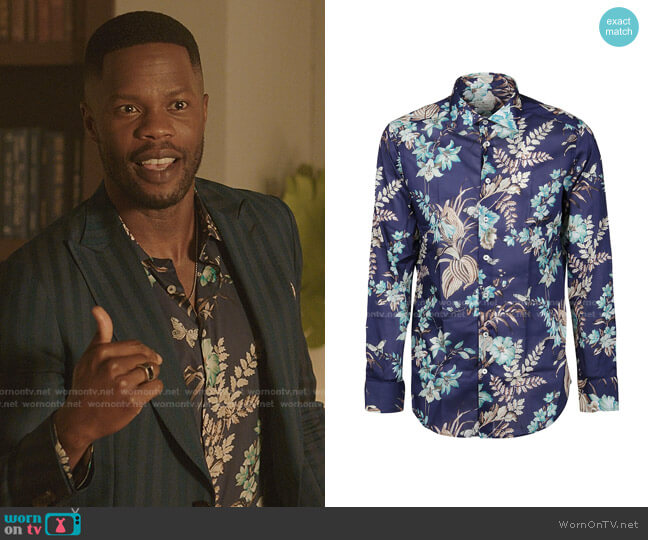 Floral-Print Cotton Shirt by Etro worn by Jeff Colby (Sam Adegoke) on Dynasty