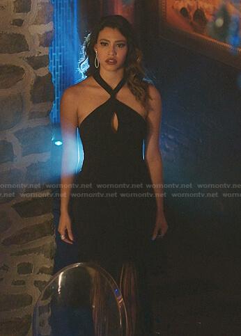 Eva's black fringed halter neck dress on Dynasty
