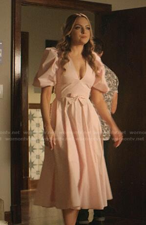 Fallon's pink puff sleeve v-neck dress on Dynasty