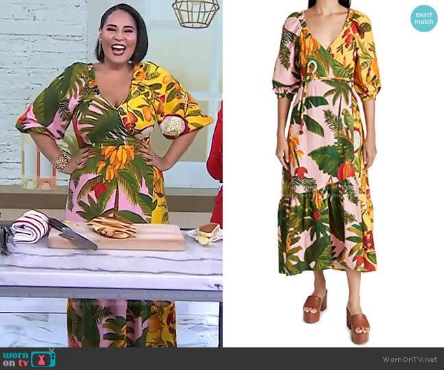 Mixed Fruits Midi Wrap Dress by Farm Rio worn by Alejandra Ramos on Today
