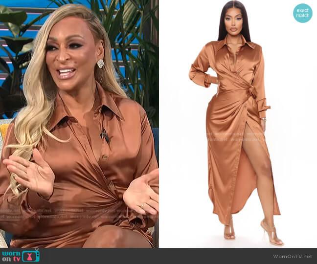 Gabriella Satin Maxi Shirt Dress by Fashion Nova worn by Karen Huger on E! News Daily Pop