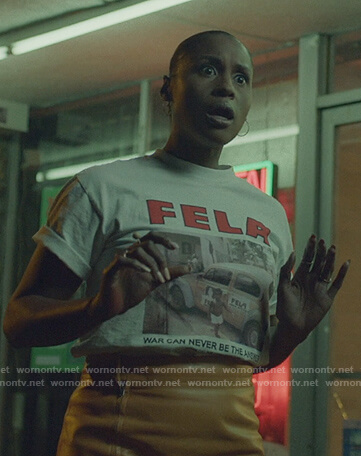Issa's white Fela graphic tee on Insecure