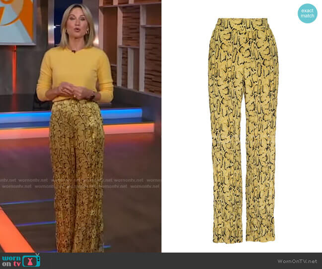 Snake Print Silk Pants by Frame worn by Amy Robach  on Good Morning America