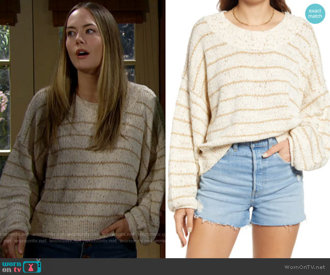 Free People Starlight Stripe Pullover worn by Hope Logan (Annika Noelle) on The Bold & the Beautiful