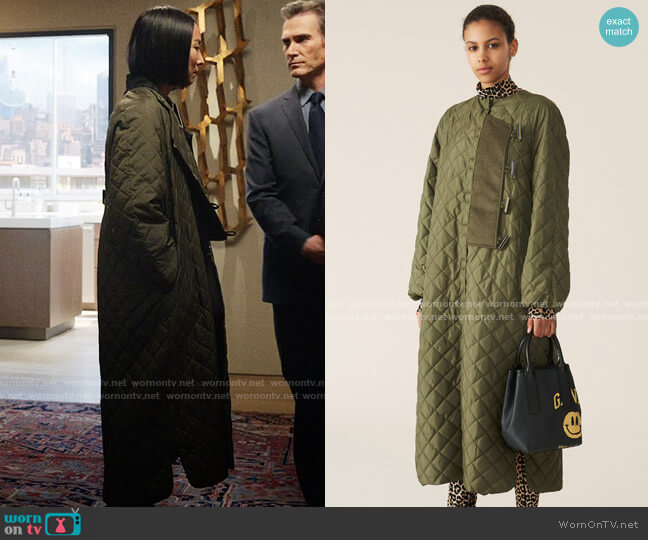 Ganni Recycled Ripstop Quilt Coat worn by Stella Bak (Greta Lee) on The Morning Show