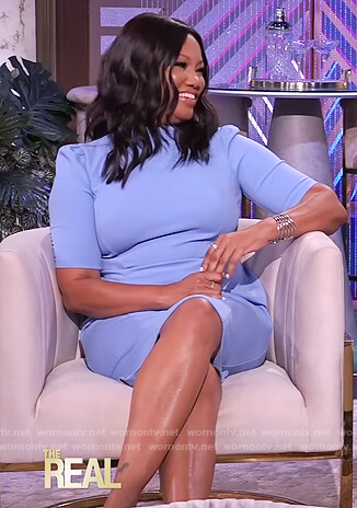 Garcelle's blue sheath dress on The Real