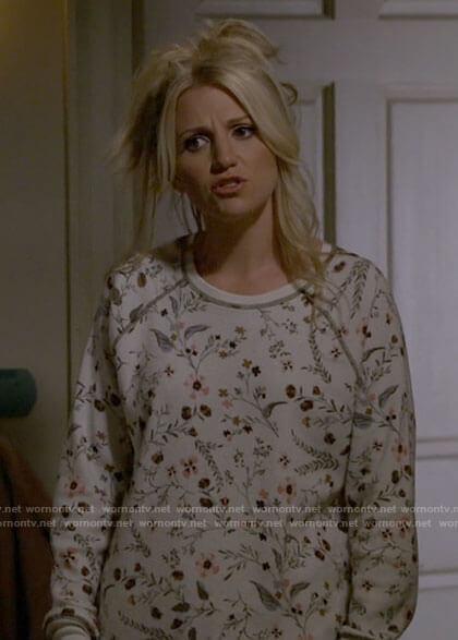 Gina's white floral pajamas on B Positive
