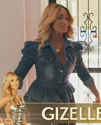 Gizelle's puff sleeve peplum denim jacket on The Real Housewives of Potomac