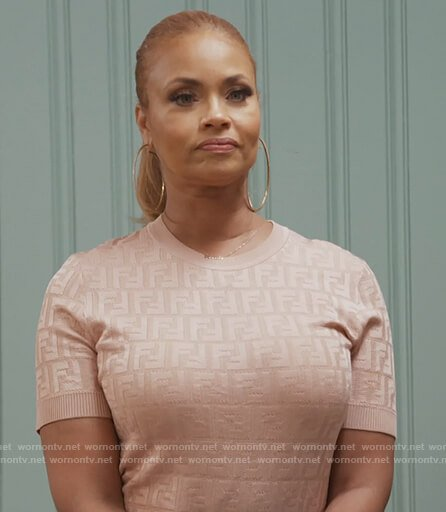 Gizelle's pink Fendi logo sweater on The Real Housewives of Potomac