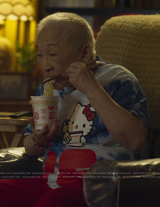Grandma's Hello Kitty t-shirt on Awkwafina is Nora From Queens