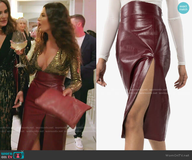 Front Slit Leather Pencil Skirt by Gucci worn by Lisa Barlow  on The Real Housewives of Salt Lake City