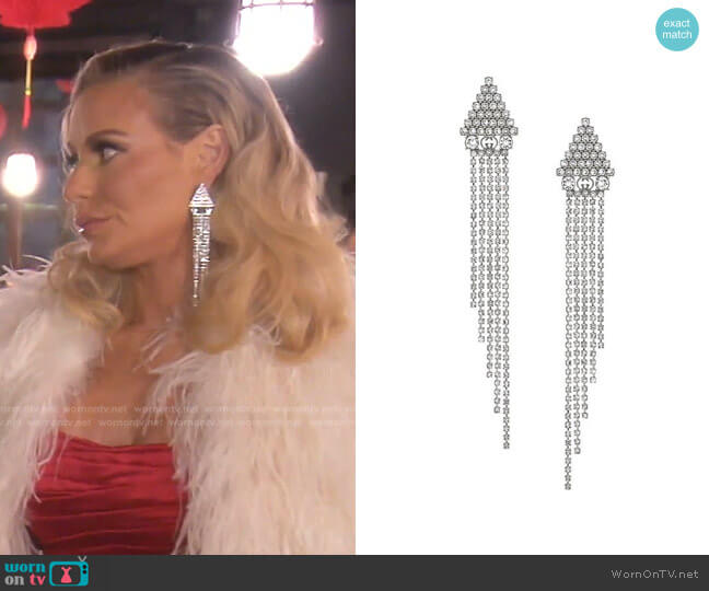 Metal Earrings with Crystals by Gucci worn by Dorit Kemsley  on The Real Housewives of Beverly Hills