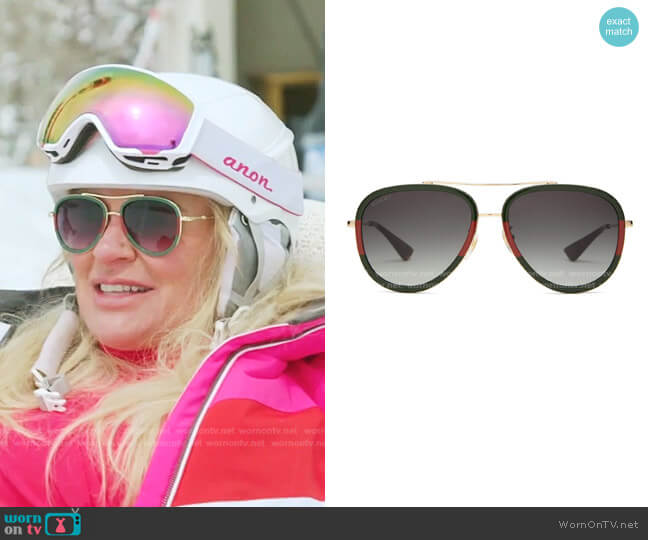 Aviator Metal Sunglasses by Gucci worn by Heather Gay  on The Real Housewives of Salt Lake City