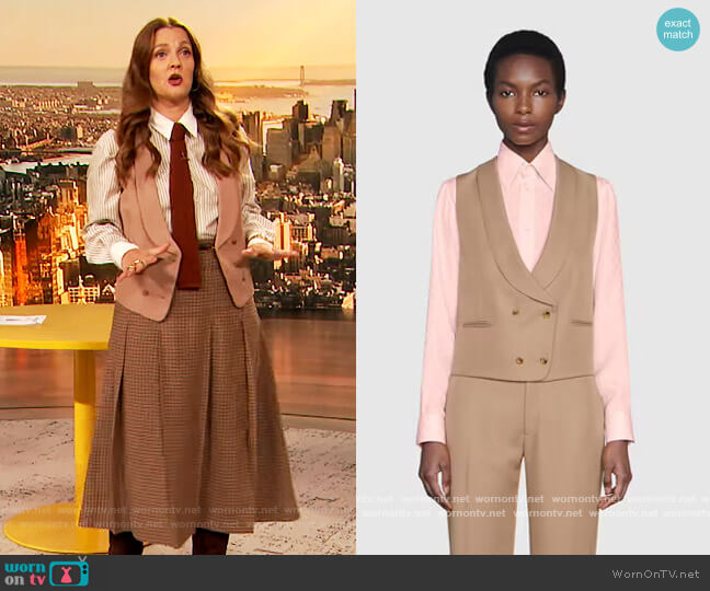 Double Breasted Gabardine Vest by Gucci worn by Drew Barrymore  on The Drew Barrymore Show
