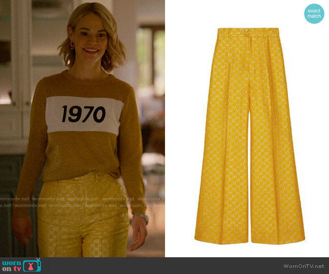 Gucci GG lamé wide leg trousers worn by Alice Pieszecki (Leisha Hailey) on The L Word Generation Q