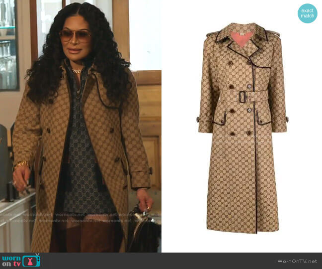 GG Pattern Trench Coat by Gucci worn by Jen Shah  on The Real Housewives of Salt Lake City