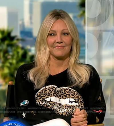 Heather Locklear's black leopard lip print sweater on Good Morning America