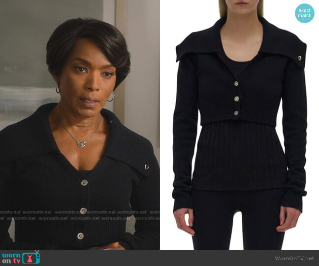 Cropped Cotton-Wool Cardigan by Helmut Lang worn by Athena Grant (Angela Bassett) on 9-1-1