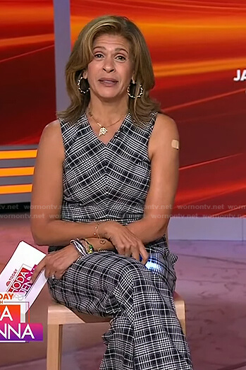 Hoda's black plaid top and pants on Today