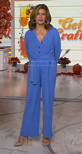 Hoda's blue ribbed tie waist jumpsuit on Today