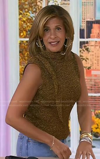 Hoda's metallic sleeveless knit top on Today