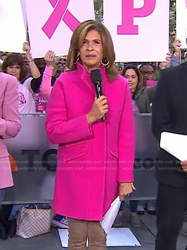 Hoda's pink zip front coat on Today