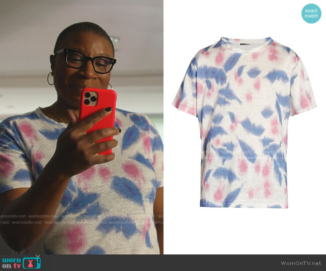 Camron Tie-Dye Linen T-Shirt by Isabel Marant worn by Henrietta Wilson (Aisha Hinds) on 9-1-1