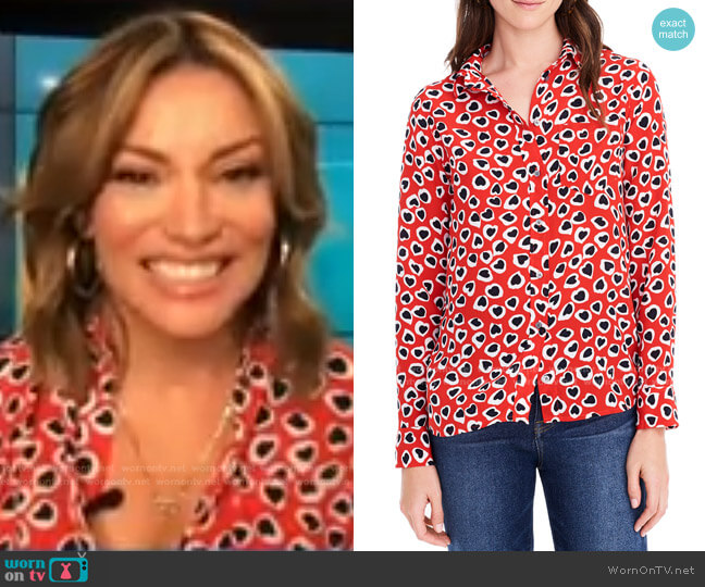 Classic Fit Heart Print Silk Boy Shirt by J. Crew worn by Kit Hoover  on Access Hollywood