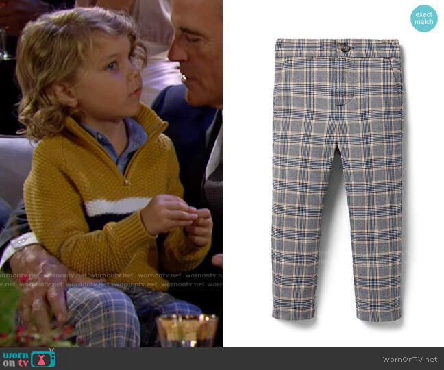 Janie and Jack Plaid Tapered Joggers worn by Harrison on The Young and the Restless