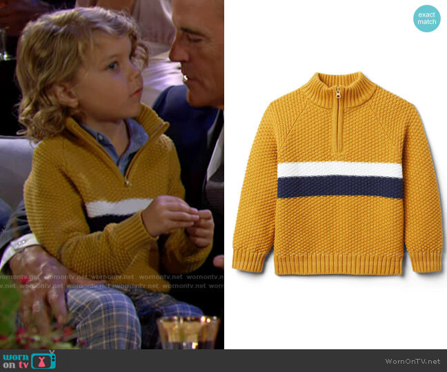 Janie and Jack Textured Stripe Half-Zip Sweater worn by Harrison on The Young and the Restless