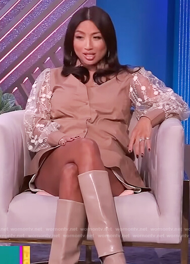 Jeannie's beige embroidered sleeve dress on The Real