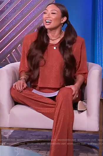 Jeannie's red metallic crop top and pants on The Real