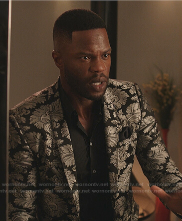 Jeff's black and silver printed blazer on Dynasty