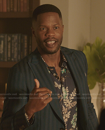 Jeff's blue floral shirt on Dynasty