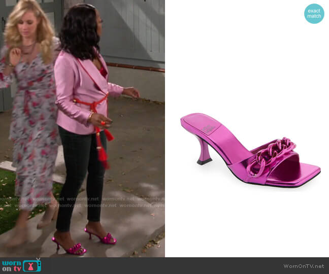 Jeffrey Campbell Mr Big Chain Slide Sandal worn by Tina (Tichina Arnold) on The Neighborhood
